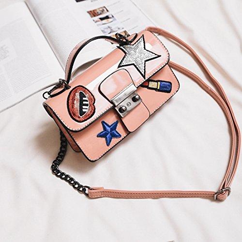 Weiblich Fünfzackigen Stern Gestickt Lock-Schnalle Pailletten Kleines Quadratische Tasche Schulter Messenger Mode-Paket Rosa
