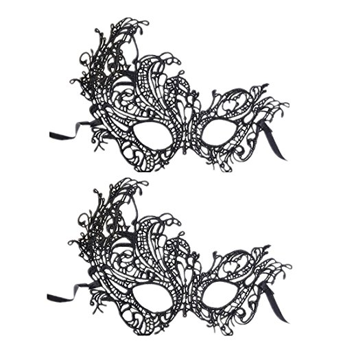 ((2 Packung) Black Masquerade Masken sexy Lace Face Eye Maske für Fancy Dress Masquerade Ball Hochzeit Bachelorette Party Halloween Mardi Gras Carvinal (Phoenix))