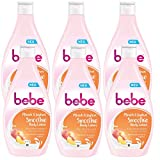 bebe Pfirsich & Joghurt Smoothie Body Lotion - Feuchtigkeitsspendende Hautpflege mit fruchtigem Duft für alle Hauttypen geeignet - 6 x