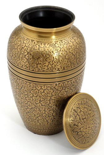 Cremation Ashes Urn Brass Engraved - FREE SHIPPING