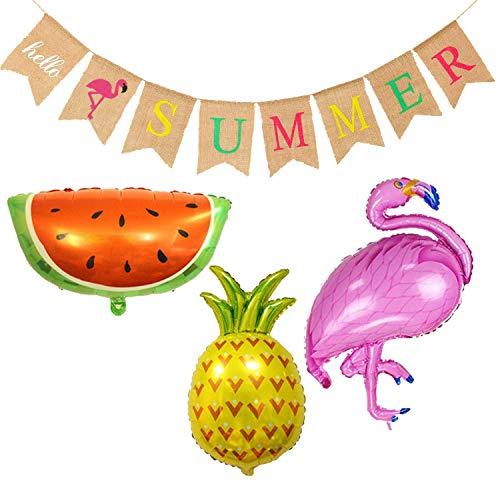 Hola verano Arpillera Banner Rústico Banner de verano con diseño de flamenco...