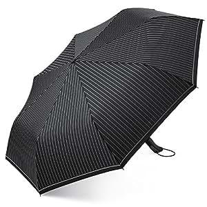 Plemo Automatischer Regenschirm Taschenschirm Schirm gestreift, 104 cm Durchmesser, Wasserabweisend