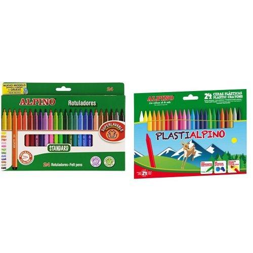 Alpino - Pack 24 rotuladores de colores + 24 ceras de colores