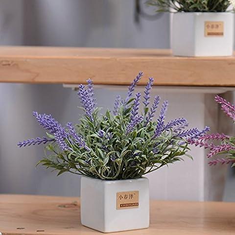 KXZZY Home decorazioni ornamenti floreali di emulazione Mini vasi di piante verdi 3,6 Emulazione bacino Cm Viola sui erba