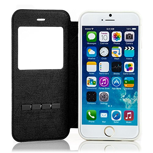 Saxonia Flip Tasche für Apple iPhone 6 6S Schutzhülle Case mit Smart-Slide Funktion zur Anrufannahme Schwarz Schwarz