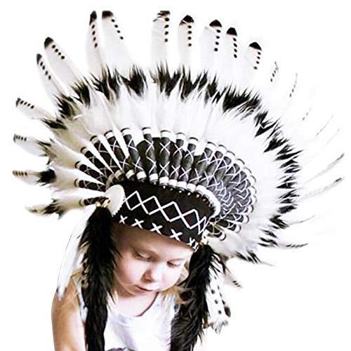 vitihipsy Indischer Federkopfschmuck Natürliche umweltfreundliche Kinderkopfbedeckung Frei einstellbare Enge