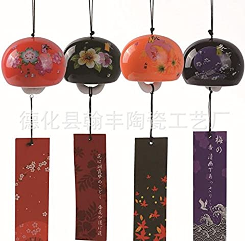 Four Seasons bells ceramic hollow Japanese bell chime ornaments gifts (purple)