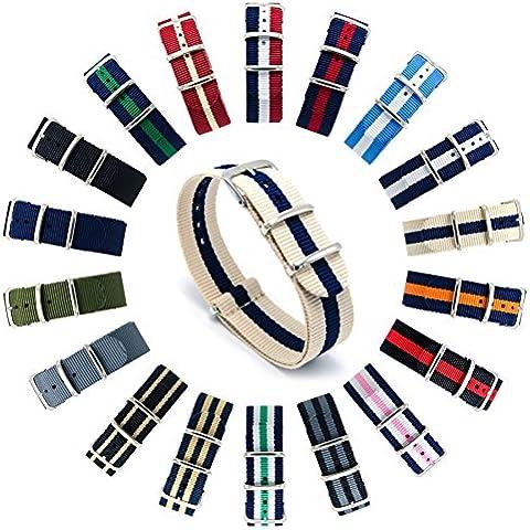 CIVO Reloj Bandas OTAN Premium Ballistic Nylon hebilla de correa de reloj de acero inoxidable de 18 mm 20 mm 22 mm con barra de herramientas de Primavera y superior 4 barras de resorte de bonificación (Linen/Navy,