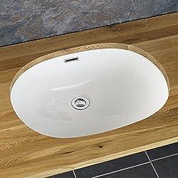 Clickbasin Torres 57cm By 40.5cm Oval Undercounter Inset Ceramic Washbasin