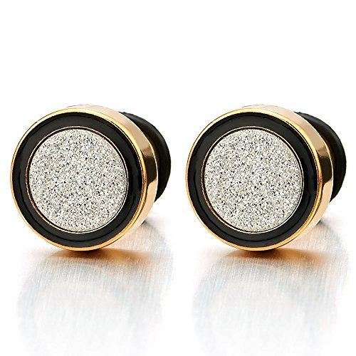 2 Or Noir Boucles d'oreilles Homme Femme - Jauge d'oreille Faux Cheater Fake - Acier Inoxydable 8-12MM largeur: 12MM