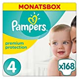 Pampers Premium Protection Größe 4 (Maxi) 8-16 kg Monatsbox, 1er Pack, 1 x 168 Windeln