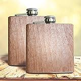 2 Stück - Flachmann mit Holz Ummantelung | 6 oz - 180 ml | Alkohol Flasche