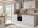respekta Küche Küchenzeile Küchenblock Landhausküche Einbauküche Komplettküche 250 cm weiß