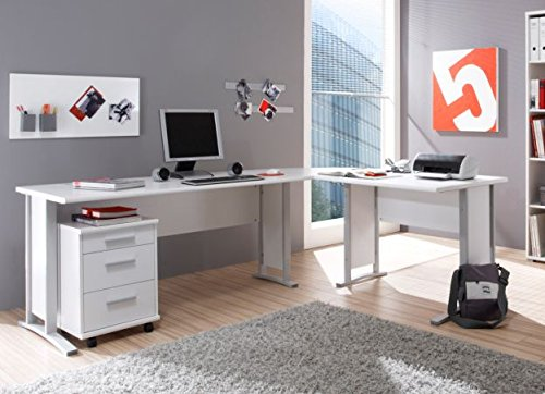 moebel-eins Office Line Winkelkombination Schreibtisch Ecktisch Tisch Bürotisch in weiss