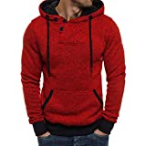 Yvelands Herren Hoodie Sweatshirt Pure Color Pullover Langarm Kapuzenpulli Tops Bluse(CN-XL,Rot)