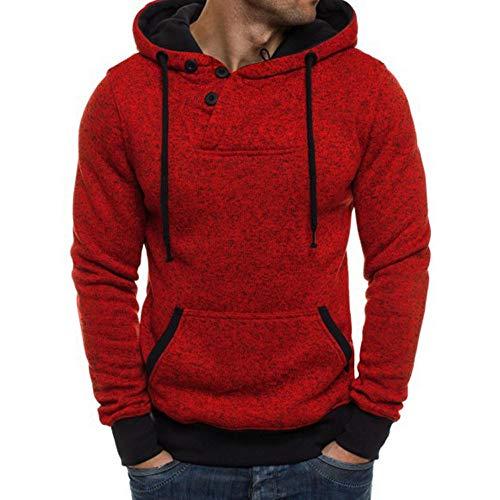 VECDY Herren Bluse,Räumungsverkauf- Reiner Farben Pullover der Männer Lange ÄrmelKapuzenpullover Tops Bluse Lässiger Kapuzenpullover(Rot,52