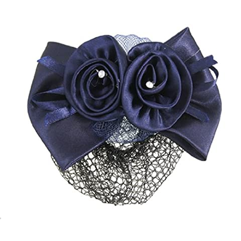 Blue Flower Bow Hair Clip Snood Net Barrette Bun Cover for Lady Women