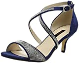 QUIZ Diamante Faux Suede Low Heel Sandals, Damen Peep-Toe Pumps, Blau (Navy and Silver), 37 EU