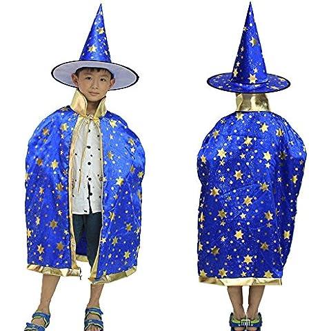 Eizur Bambini Halloween Mantello con Cappello Strega/ Mago Cappotto Raso Wicca Robe Cape Medievale Scialle Masquerade Costumi Cosplay Accessori - Blu