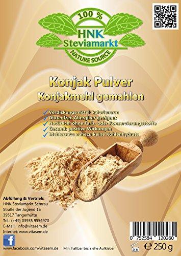Konjak Pulver (Konjakmehl) gemahlen 250 g - ideal zum Abnehmen - gesunde Unterstützung bei Diäten - Verdickungsmittel zum Backen und Kochen