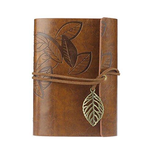 Ukamshop retro Blatt Lederbezug Buch leeres Notizbuch Zeitschrift Tagebuch Journalbuch Tagebuch braun