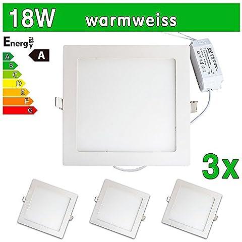 LEDVero Ultraslim Pannello LED SMD 283518W Faretto da soffitto quadrato bianco caldo sp226
