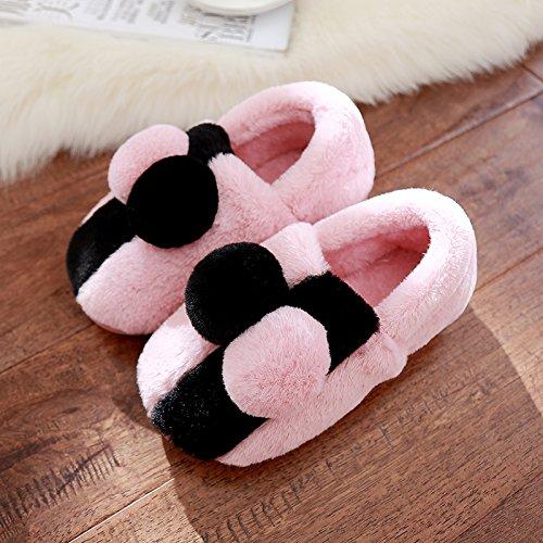 DogHaccd pantofole,La sig.ra cotone pantofole pacchetto con spessi e graziosa anti-slittamento coppie soggiorno caldo scarpe invernali in autunno e inverno Rosa1