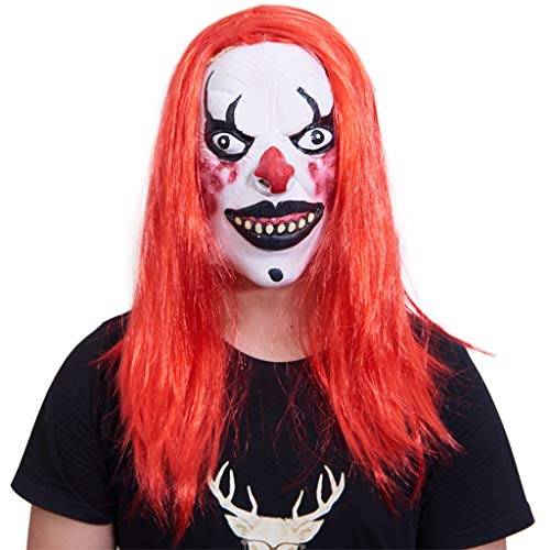 YKQ WS Halloween Props Horror Scary Clown Latex Maske und Haar Maskerade Karneval Bühnenshow Dekoration