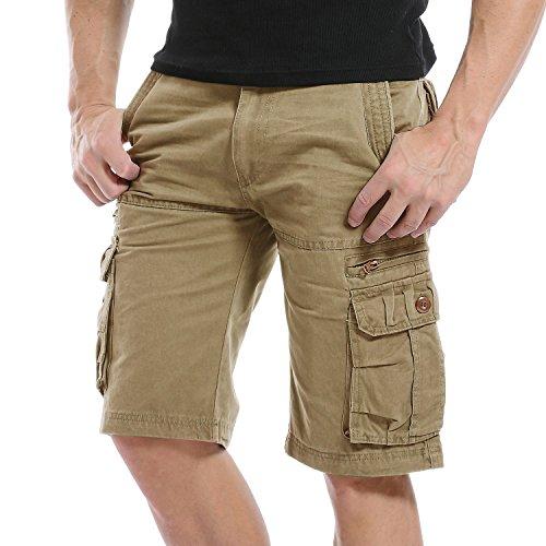 AYG Kurze Hose Herren Cargo Shorts Bermudas Schwarz Shorts Baumwolle Militär 29-40 (W31(DE 46/S)/Taille:78-81cm, Khaki)