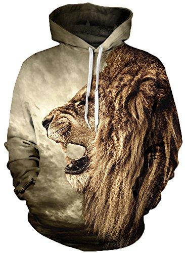 TDOLAH Herren Slim Fit Kapuzenpullover 3D Druck Sweatshirt Pullover (Größe S / M, Löwe)
