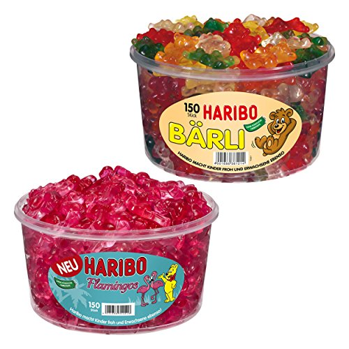 Haribo Bärli und Flamingos, 2er Set, Gummibärchen, Weingummi, Fruchtgummi, Große Bären, Pinke...