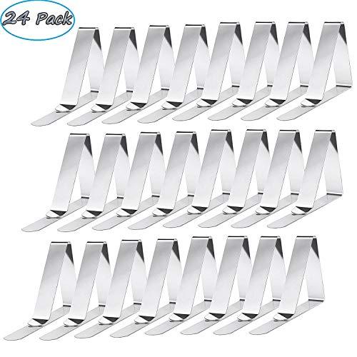 Smart Nice 24 Pack Pinzas para Mantel de Acero Inoxidable Mantel,Clips elásticas de Mantel Pinza para Mantel Cubierta,Plata,Apto para Picnics, Fiestas (Triangle)