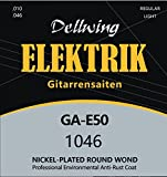 Dellwing guitar strings for electric guitars - 6-string set - Premium strings for electric guitars - nickel-plated with TOP sound for electric Guitars - Guitar strings Electric guitar strings