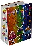 Les Couleurs de l'Emballage 20 Geschenktragetaschen mit Kordel und Glanz-Laminierung, 23 x 18 x 10 cm, geburtstagsmotiv