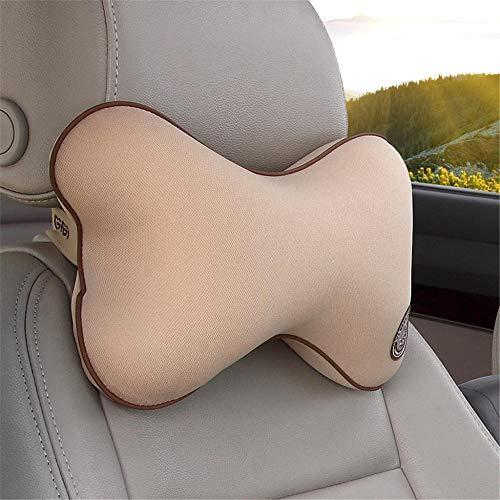 Yujue Auto Nackenkissen Speicher Baumwolle Autositz Nacken Jahreszeiten Atmungsaktiv Auto Kissen Elfenbein Aprikose 32 * 18 * 8 -