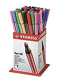 STABILO Pen 88 - Pot de 60 feutres pointe moyenne - 12 coloris assortis
