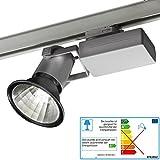 LIVAL Strahler Winner silber grau HQI HCI für Stromschiene Leuchte mit 50 Watt PHILIPS CDM Lampe