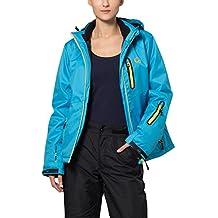 Ultrasport Serfaus - Chaqueta softshell alpina-outdoor de señora con Ultraflow 10.000, azul / amarillo, talla M