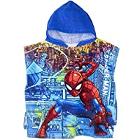 Spiderman Marvel Original Licensed Boys Hooded 100% Cotton Poncho Towel. Perfect for Bath and Beach Character on Front and Back