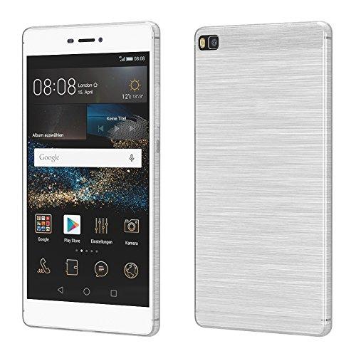 Brushed Cover für Huawei P8 Schutz Hülle TPU Case Schutzhülle Silikon Cover Tasche in Weiß