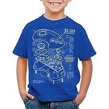 style3 Mega 16-Bit Gamepad Blaupause T-Shirt für Kinder konsole sonic, Farbe:Blau;Größe:164
