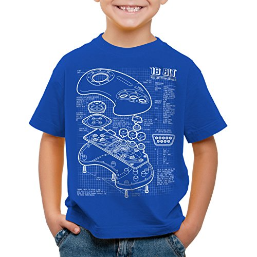 style3 Mega 16-Bit Gamepad Blaupause T-Shirt für Kinder konsole sonic, Farbe:Blau;Größe:140