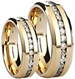 His And Her's Matching 8MM/6MM Simulated Diamonds Classic Gold Tone Wedding Engagement Band Ring Set (Available Sizes L - Z+4) EMAIL US WITH YOUR SIZES