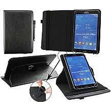 Emartbuy® BQ Elcano 2 QuadCore Tablet Universal ( 7 - 8 Pulgada ) Negro Premium Cuero PU 360 Grados Soporte Giratorio Folio Carcasa Wallet Case + Negro Lápiz Óptico