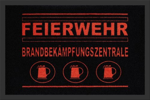Fussmatte Feuerwehr Brandbekampfungszentrale 60x40 cm, Sauberlaufmatte, Schmutzmatte, Spruchmatte, motive