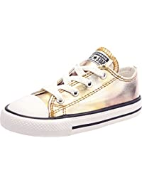 Converse Chuck Taylor All Star Ox Silver/Gold Textile Baby Trainers
