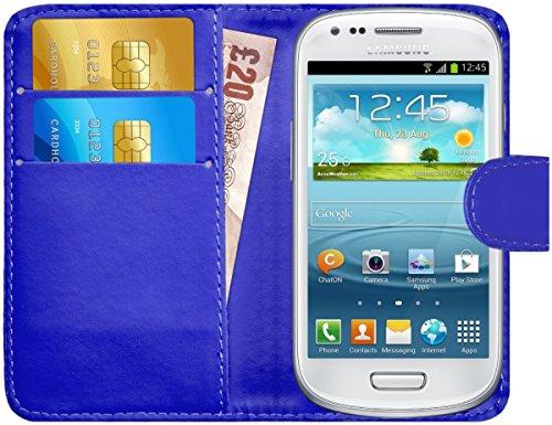G-Shield Cover per Samsung Galaxy S3 Mini, Custodia Portafoglio in Pelle con Porta Carte, Blu