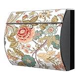 motivx Briefkasten Edelstahl bunt Zeitungsfach Design Wandbriefkasten mit Motiv - Blumenranken Jugendstil