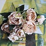 ticc Shabby Chic Bouquet Européen Jolie Mariée Mariage Petites Fleurs De Soie Pivoine Pas Cher Mini Faux Fleurs pour La Décoration Intérieure, Champagne