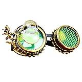 Dromensho Steampunk Victorian Style Cyber Goggles con diseño de brújula, Lentes Verdes y Lupa Ocular (Color : Style2)